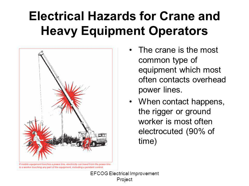 EFCOG Electrical Improvement Project Electrical Hazards for Crane and Heavy Equipment Operators The crane is the most common type of equipment which m