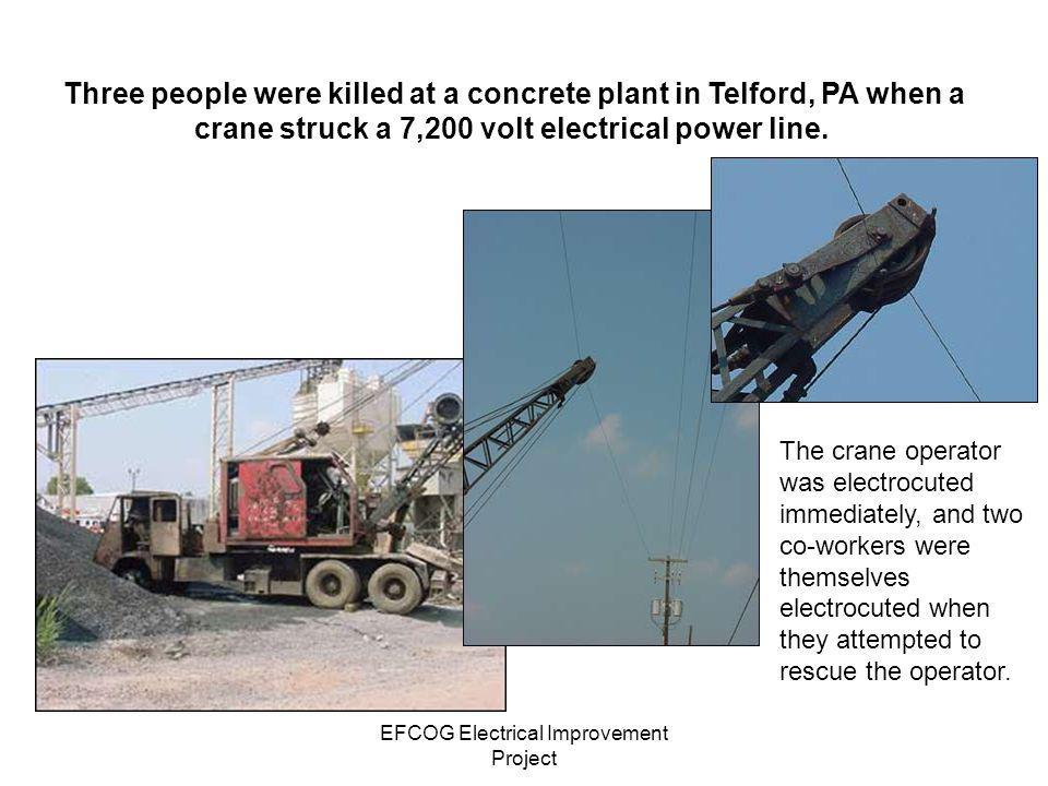 EFCOG Electrical Improvement Project Be Aware of Overhead Electrical Lines When Operating Dump Trucks On September 21, 2005, at the Hanford Central Waste Complex, the raised bed of a dump truck operated by a subcontractor hit an energized 240-volt power line, producing an electrical arc as the line was severed.