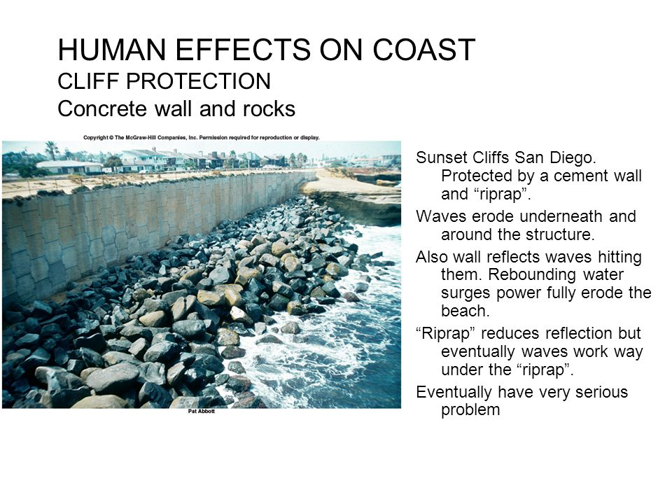 """HUMAN EFFECTS ON COAST CLIFF PROTECTION Concrete wall and rocks Sunset Cliffs San Diego. Protected by a cement wall and """"riprap"""". Waves erode undernea"""