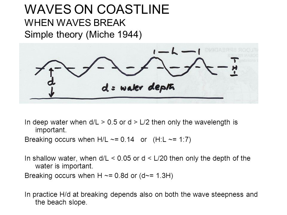 WAVES ON COASTLINE WHEN WAVES BREAK Simple theory (Miche 1944) In deep water when d/L > 0.5 or d > L/2 then only the wavelength is important. Breaking