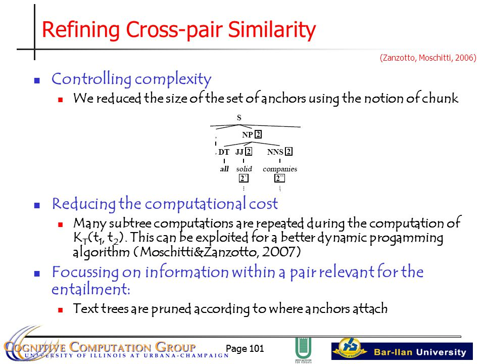 Page 101 Refining Cross-pair Similarity Controlling complexity We reduced the size of the set of anchors using the notion of chunk Reducing the computational cost Many subtree computations are repeated during the computation of K T (t 1, t 2 ).