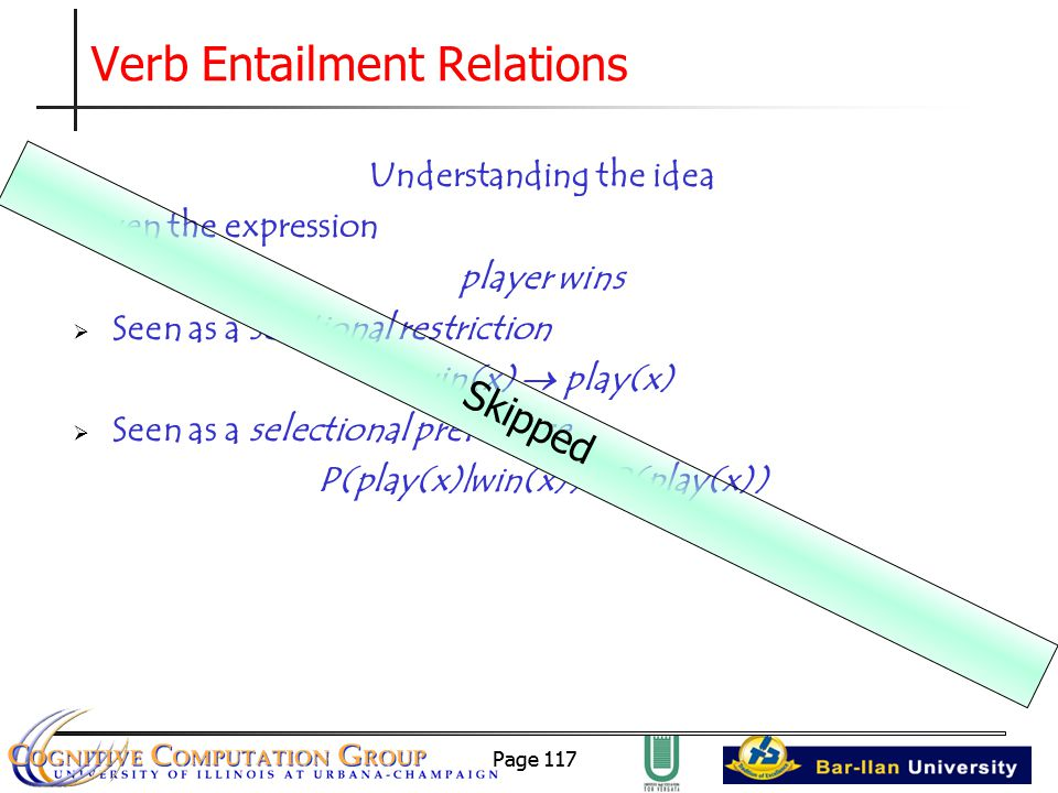Page 117 Verb Entailment Relations Understanding the idea Given the expression player wins  Seen as a selctional restriction win(x)  play(x)  Seen as a selectional preference P(play(x)|win(x)) > P(play(x)) Skipped