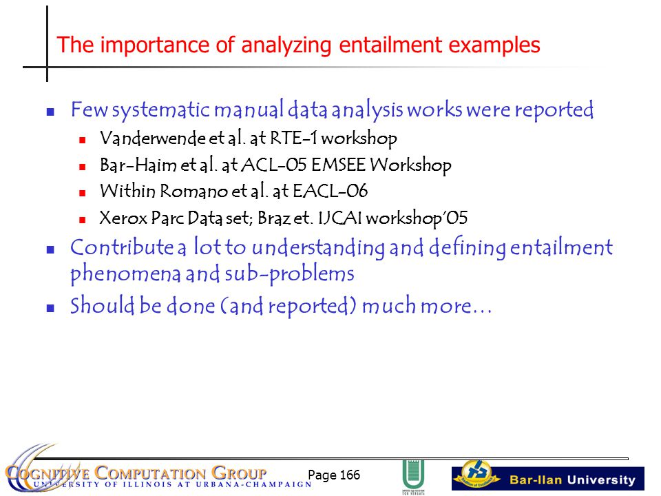 Page 166 The importance of analyzing entailment examples Few systematic manual data analysis works were reported Vanderwende et al.