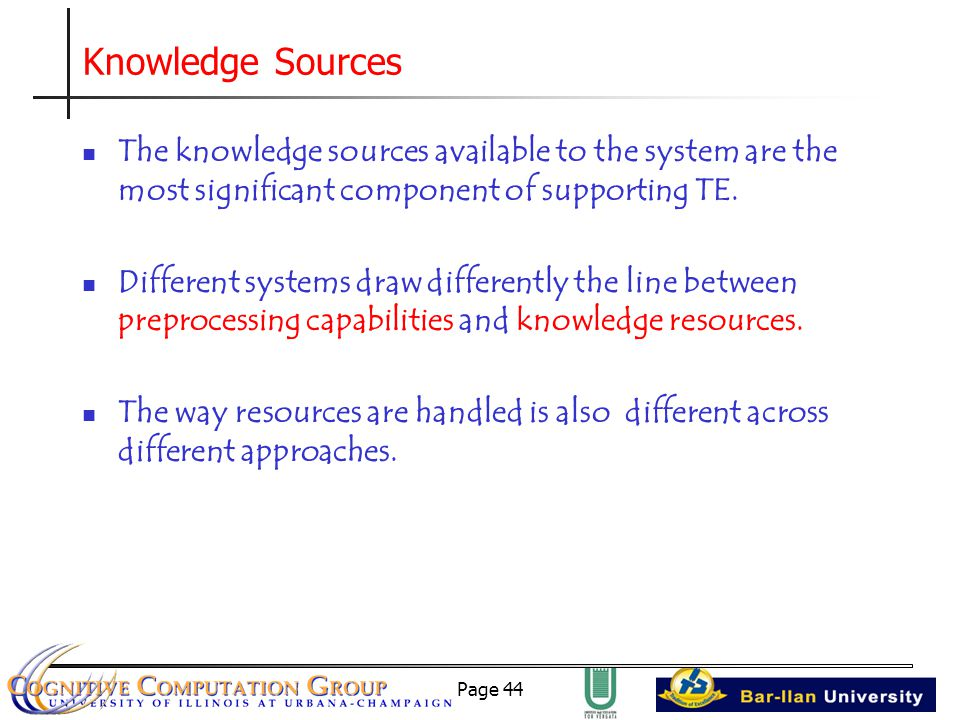 Page 44 Knowledge Sources The knowledge sources available to the system are the most significant component of supporting TE.