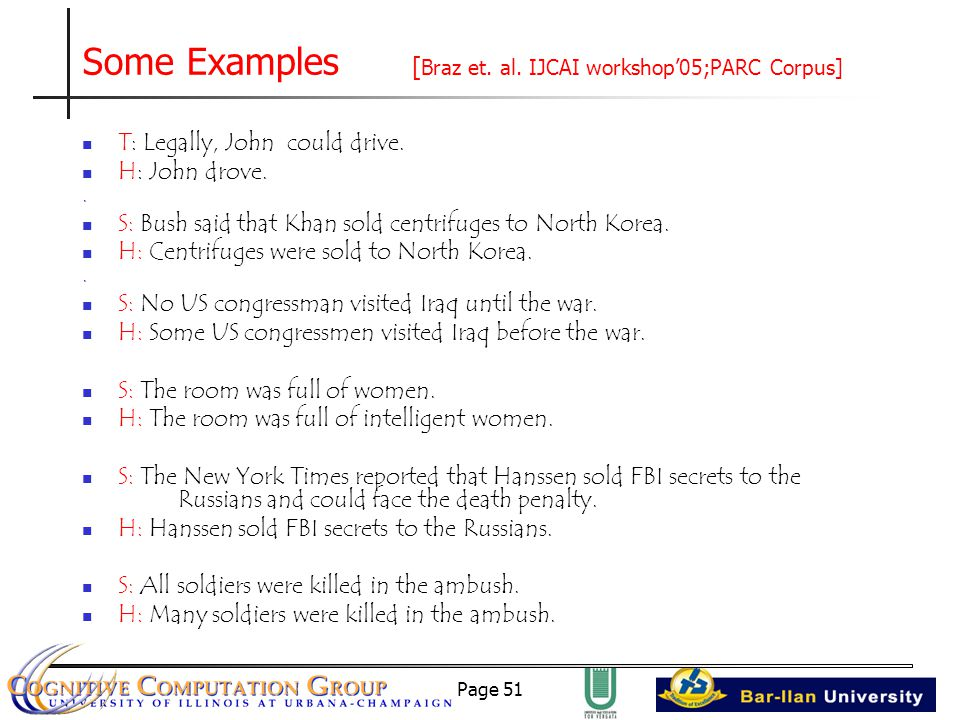 Page 51 Some Examples [ Braz et. al. IJCAI workshop'05;PARC Corpus] T: Legally, John could drive.
