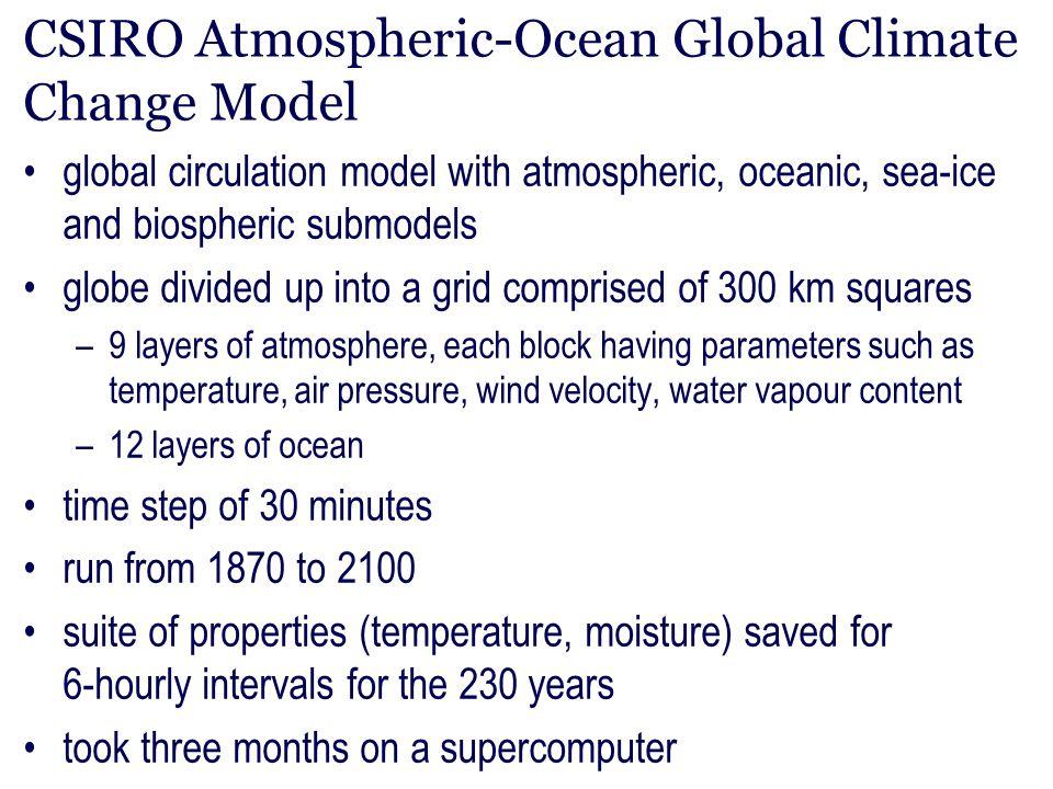 CSIRO Atmospheric-Ocean Global Climate Change Model global circulation model with atmospheric, oceanic, sea-ice and biospheric submodels globe divided