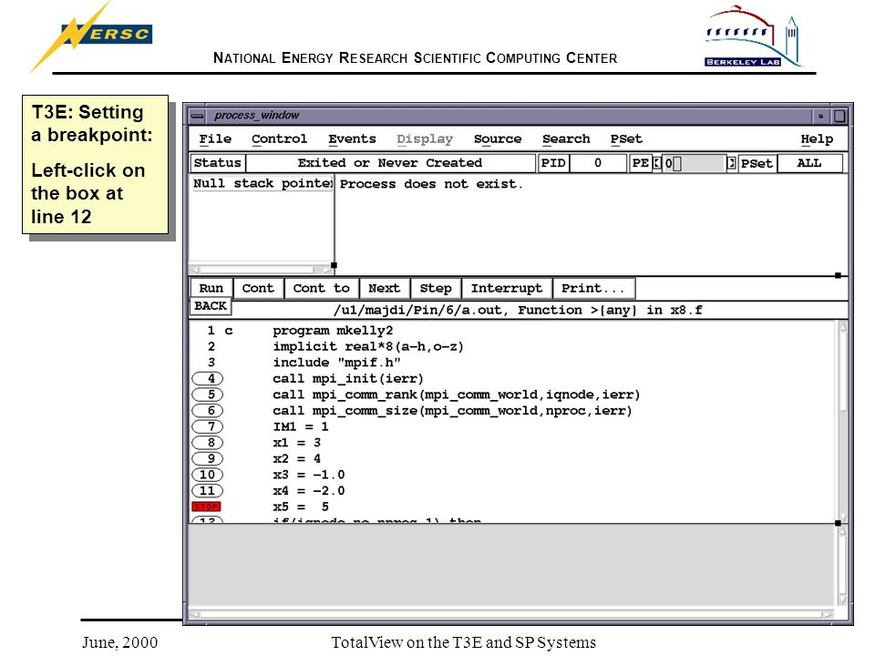 N ATIONAL E NERGY R ESEARCH S CIENTIFIC C OMPUTING C ENTER June, 2000TotalView on the T3E and SP Systems T3E: Setting a breakpoint: Left-click on the box at line 12 T3E: Setting a breakpoint: Left-click on the box at line 12