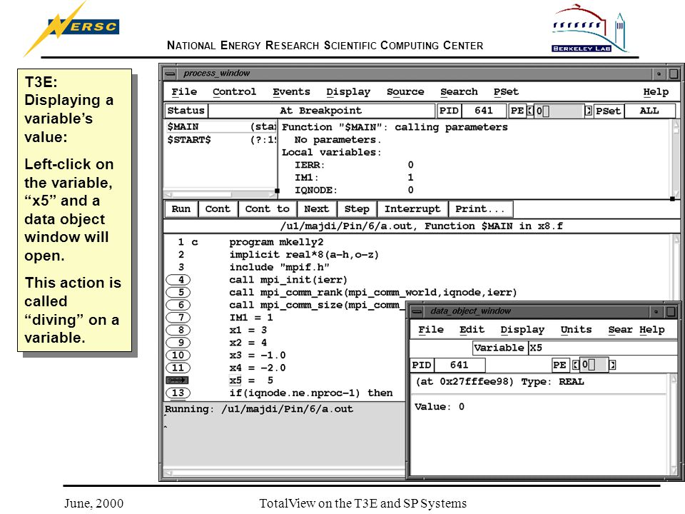 N ATIONAL E NERGY R ESEARCH S CIENTIFIC C OMPUTING C ENTER June, 2000TotalView on the T3E and SP Systems T3E: Displaying a variable's value: Left-click on the variable, x5 and a data object window will open.