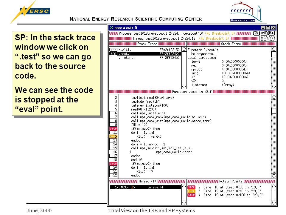 N ATIONAL E NERGY R ESEARCH S CIENTIFIC C OMPUTING C ENTER June, 2000TotalView on the T3E and SP Systems SP: In the stack trace window we click on .test so we can go back to the source code.