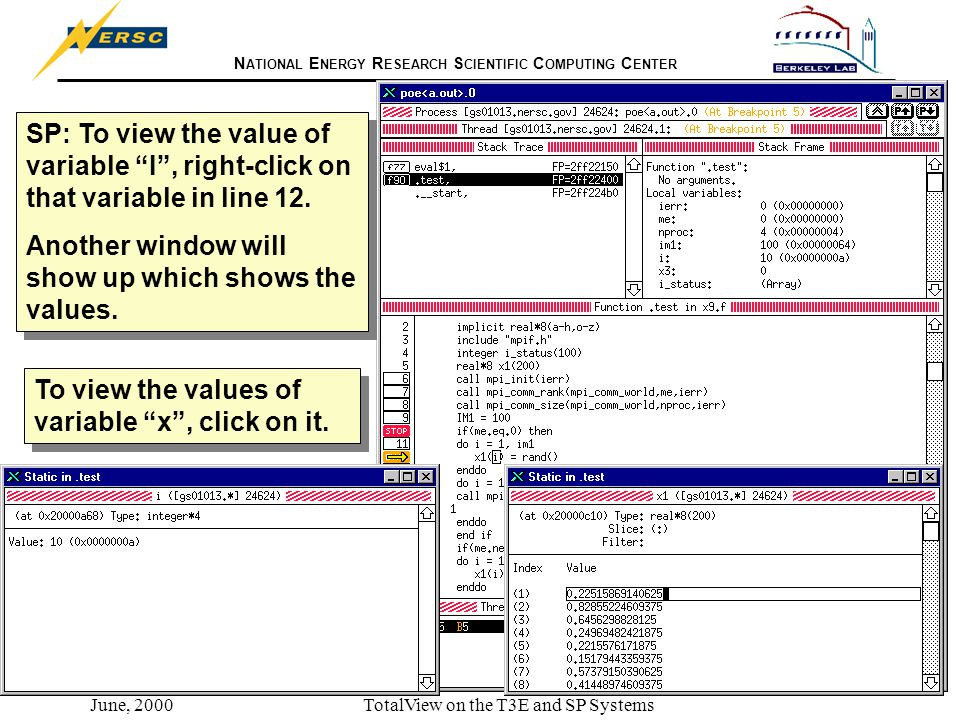 N ATIONAL E NERGY R ESEARCH S CIENTIFIC C OMPUTING C ENTER June, 2000TotalView on the T3E and SP Systems SP: To view the value of variable I , right-click on that variable in line 12.