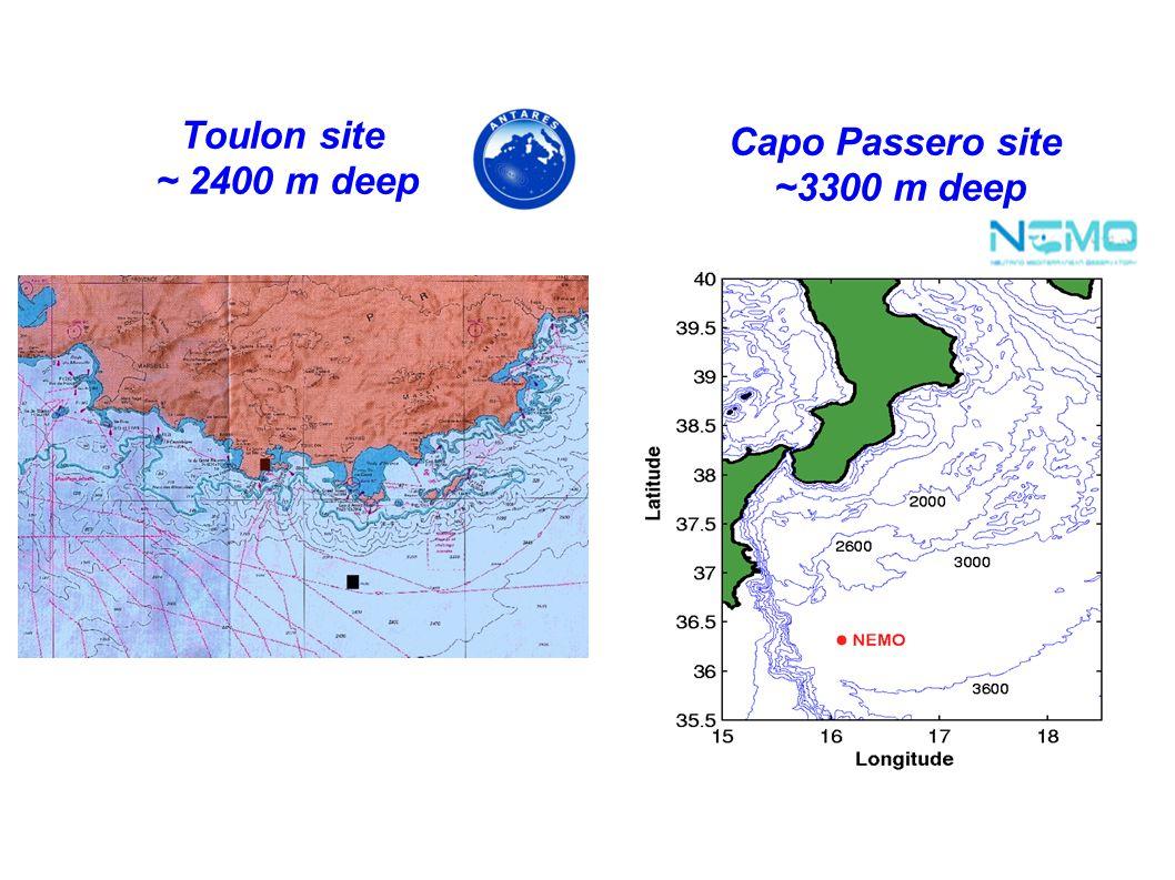 Toulon site ~ 2400 m deep Capo Passero site ~3300 m deep