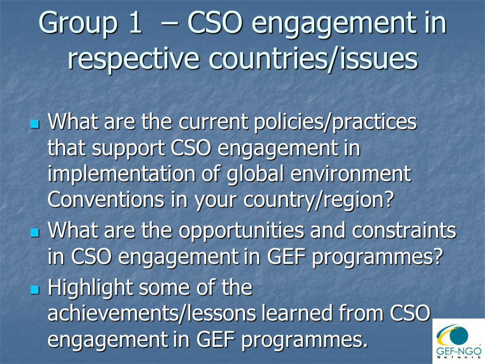 Group 1 – CSO engagement in respective countries/issues What are the current policies/practices that support CSO engagement in implementation of global environment Conventions in your country/region.