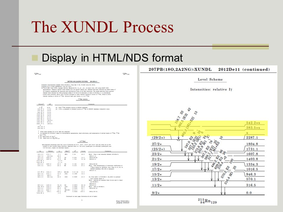 The XUNDL Process Display in HTML/NDS format