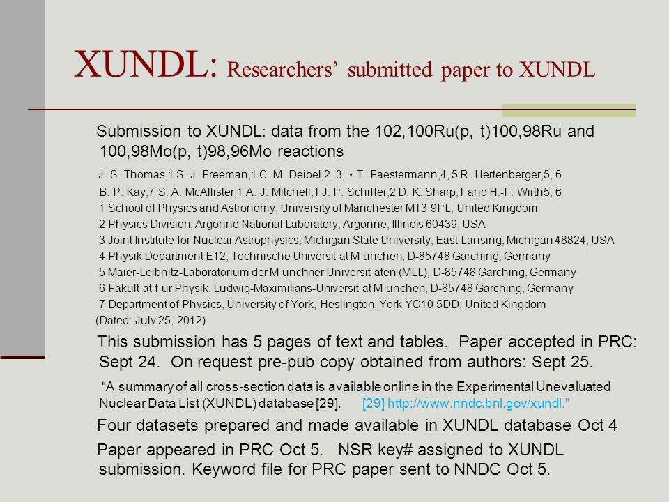XUNDL: Researchers' submitted paper to XUNDL Submission to XUNDL : data from the 102,100Ru(p, t)100,98Ru and 100,98Mo(p, t)98,96Mo reactions J.