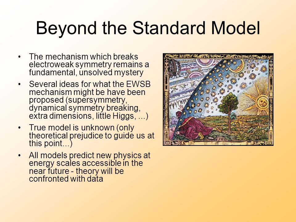 Beyond the Standard Model The mechanism which breaks electroweak symmetry remains a fundamental, unsolved mystery Several ideas for what the EWSB mechanism might be have been proposed (supersymmetry, dynamical symmetry breaking, extra dimensions, little Higgs,...) True model is unknown (only theoretical prejudice to guide us at this point...) All models predict new physics at energy scales accessible in the near future - theory will be confronted with data