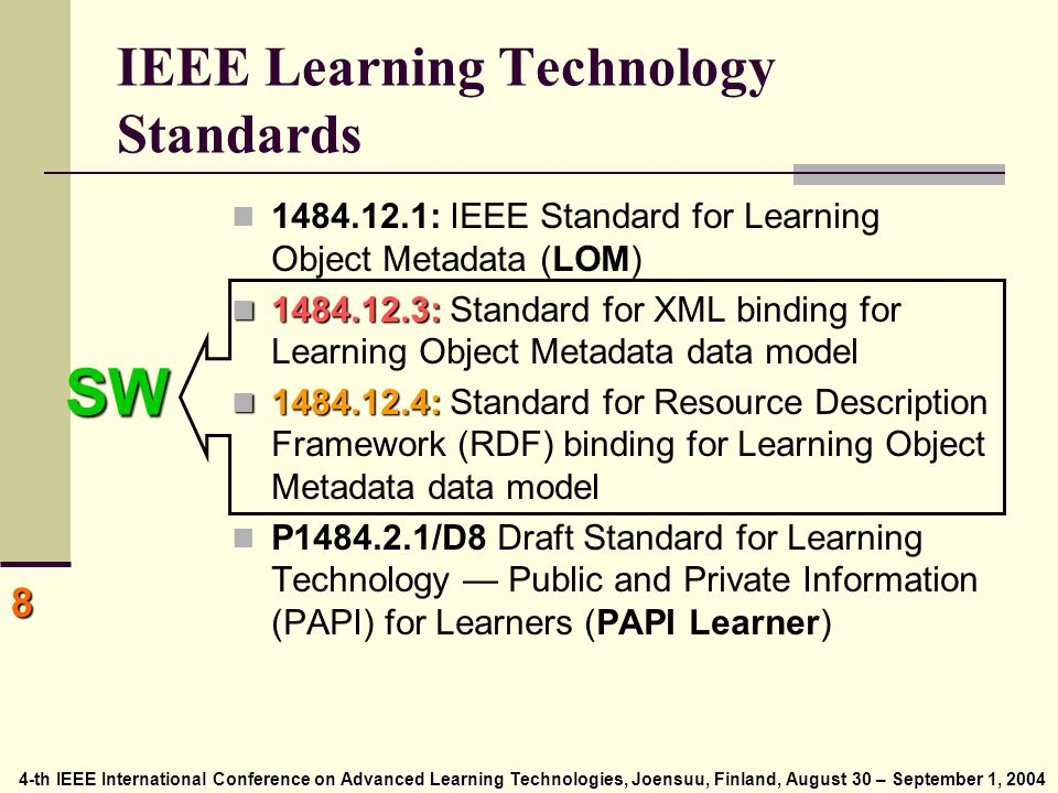 4-th IEEE International Conference on Advanced Learning Technologies, Joensuu, Finland, August 30 – September 1, 2004 4-th IEEE International Conference on Advanced Learning Technologies, Joensuu, Finland, August 30 – September 1, 2004 8 IEEE Learning Technology Standards 1484.12.1: IEEE Standard for Learning Object Metadata (LOM) 1484.12.3: 1484.12.3: Standard for XML binding for Learning Object Metadata data model 1484.12.4: 1484.12.4: Standard for Resource Description Framework (RDF) binding for Learning Object Metadata data model P1484.2.1/D8 Draft Standard for Learning Technology — Public and Private Information (PAPI) for Learners (PAPI Learner) SW
