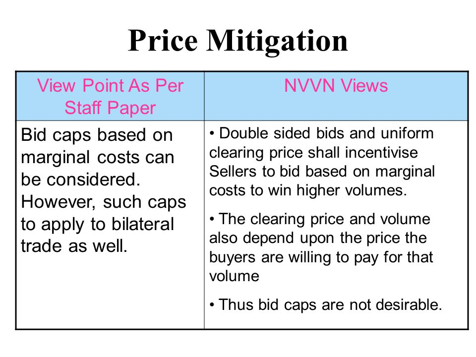 Congestion Management View Point As Per Staff Paper NVVN Views Market Splitting method recommended, but congestion revenue to be socialized among participants in deficit areas Classical market splitting method only recommended – Congestion revenue may be used for transmission system development.