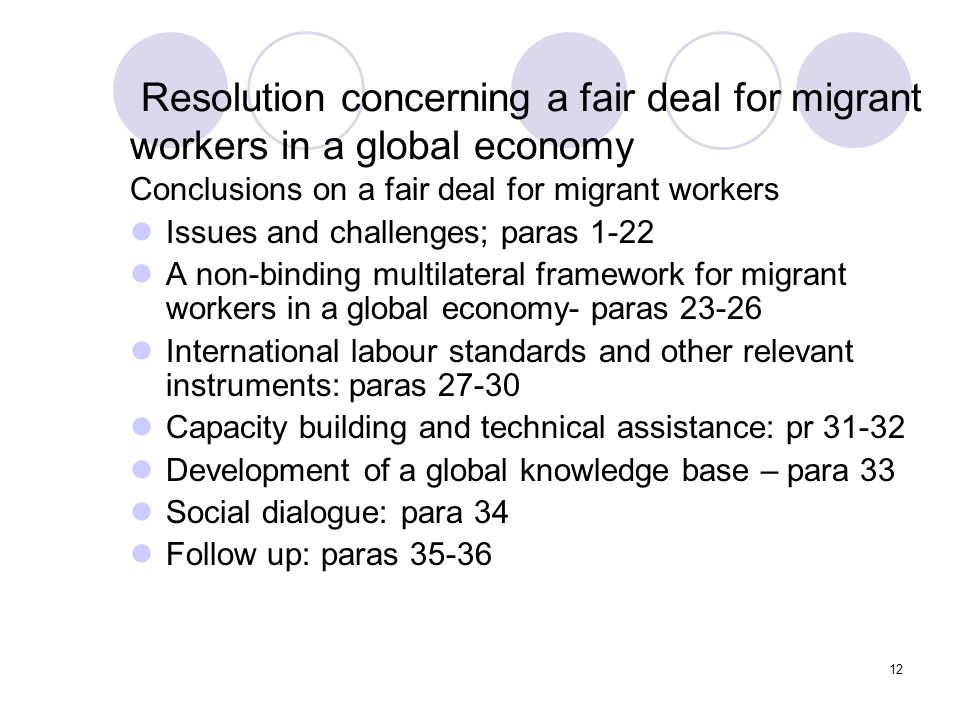 12 Resolution concerning a fair deal for migrant workers in a global economy Conclusions on a fair deal for migrant workers Issues and challenges; par