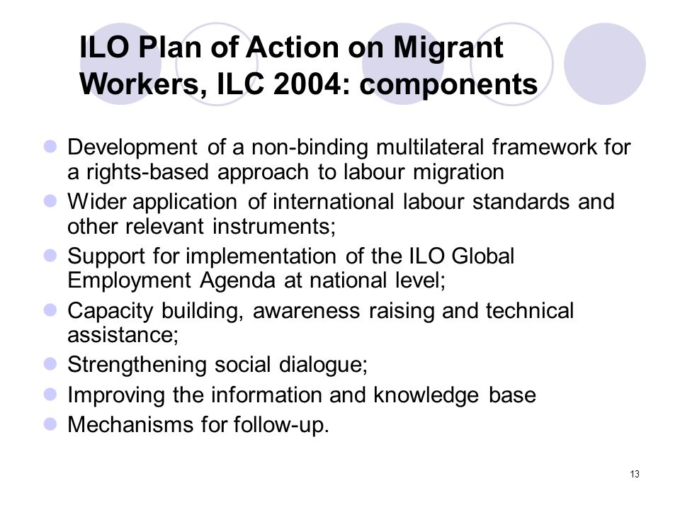 13 Development of a non-binding multilateral framework for a rights-based approach to labour migration Wider application of international labour stand