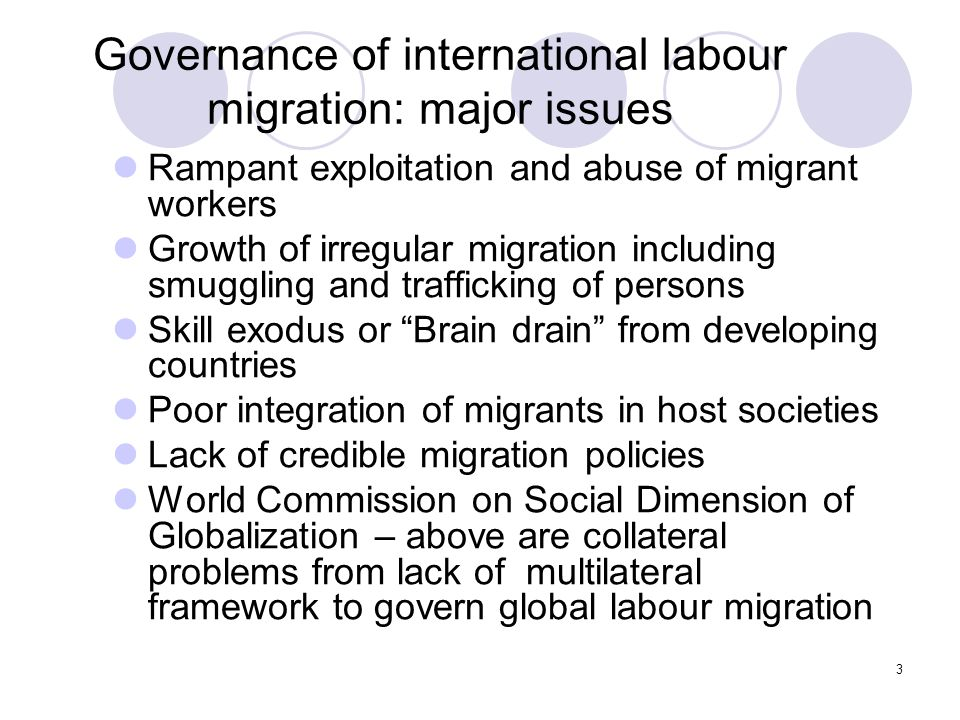 4 Possible options for an international migration regime Create a new agency: World Migration Organization – objections from major countries.