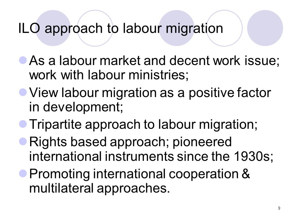 10 Background to the Discussion Conclusions of previous ILO meetings – Tripartite Meeting of Experts on Migration (21-25 April, 1997) General Survey on Migrant Worker Instruments, Report 3b presented to ILC, 1999:  On low ratification of ILO MW instruments Governing Body 283rd session – March 2002.