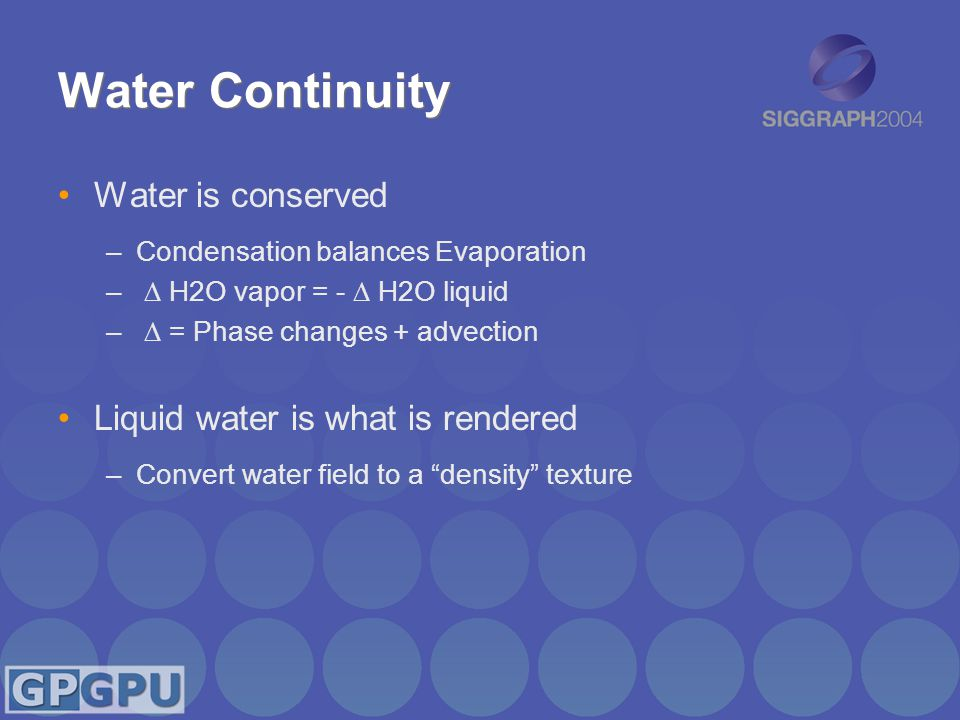 Water Continuity Water is conserved –Condensation balances Evaporation –  H2O vapor = -  H2O liquid –  = Phase changes + advection Liquid water is what is rendered –Convert water field to a density texture