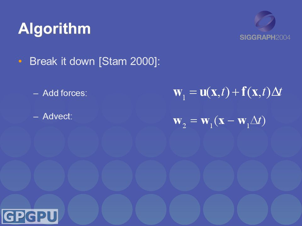Algorithm Break it down [Stam 2000]: –Add forces: –Advect: