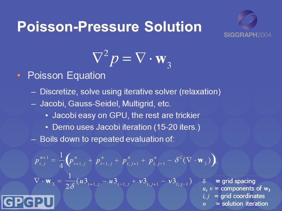 Poisson-Pressure Solution Poisson Equation –Discretize, solve using iterative solver (relaxation) –Jacobi, Gauss-Seidel, Multigrid, etc.