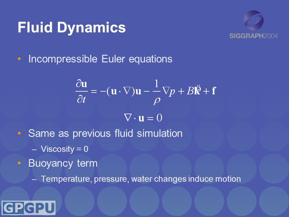 Fluid Dynamics Incompressible Euler equations Same as previous fluid simulation –Viscosity = 0 Buoyancy term –Temperature, pressure, water changes induce motion