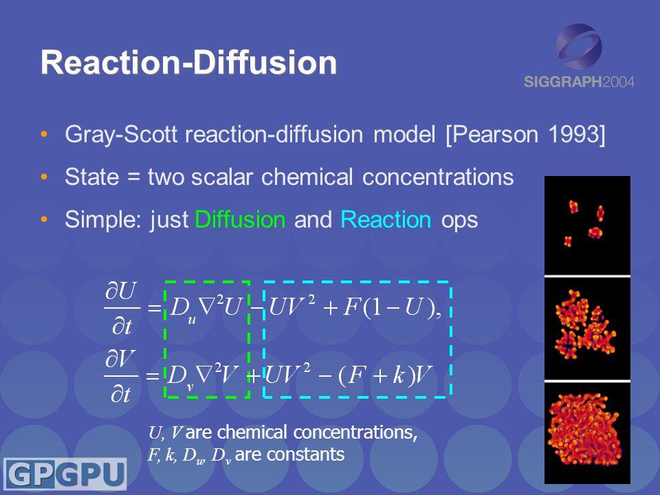 Reaction-Diffusion Gray-Scott reaction-diffusion model [Pearson 1993] State = two scalar chemical concentrations Simple: just Diffusion and Reaction ops U, V are chemical concentrations, F, k, D u, D v are constants