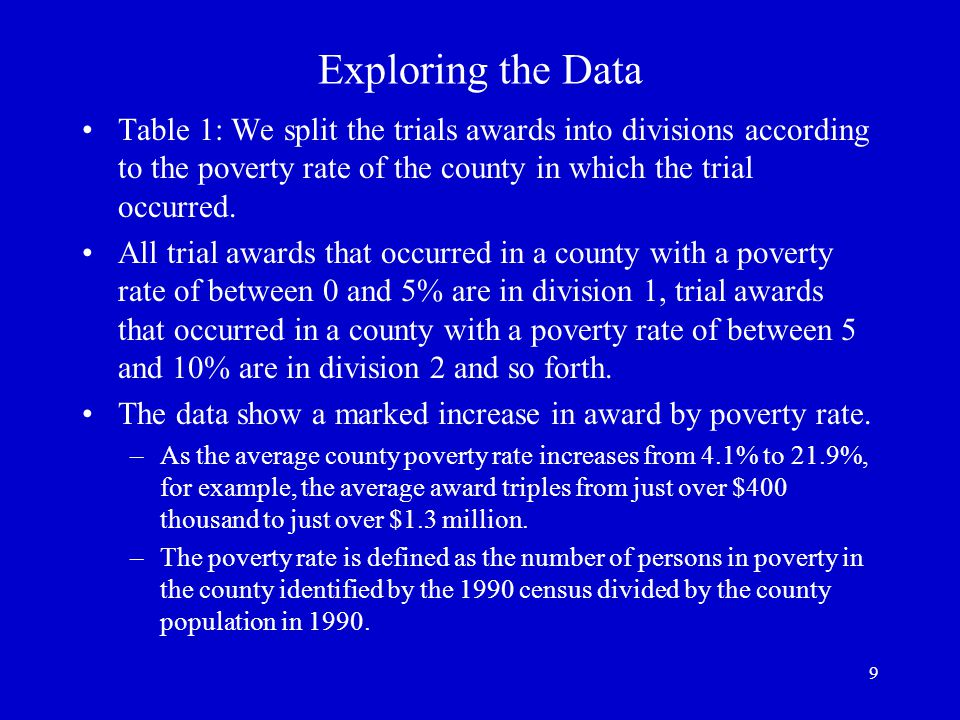 9 Exploring the Data Table 1: We split the trials awards into divisions according to the poverty rate of the county in which the trial occurred.