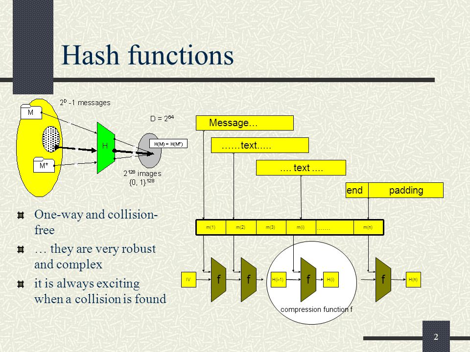 2 Hash functions One-way and collision- free … they are very robust and complex it is always exciting when a collision is found m(1)m(2)m(3)m(n)............