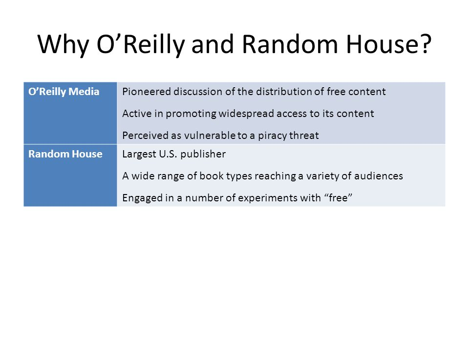 Why O'Reilly and Random House.