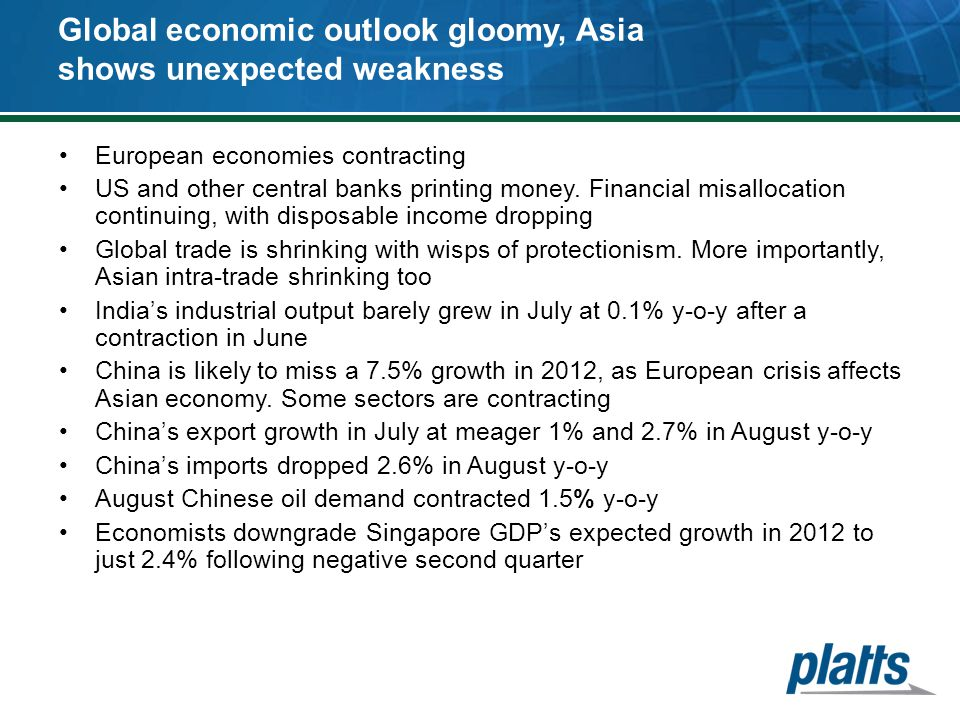 Global economic outlook gloomy, Asia shows unexpected weakness European economies contracting US and other central banks printing money. Financial mis