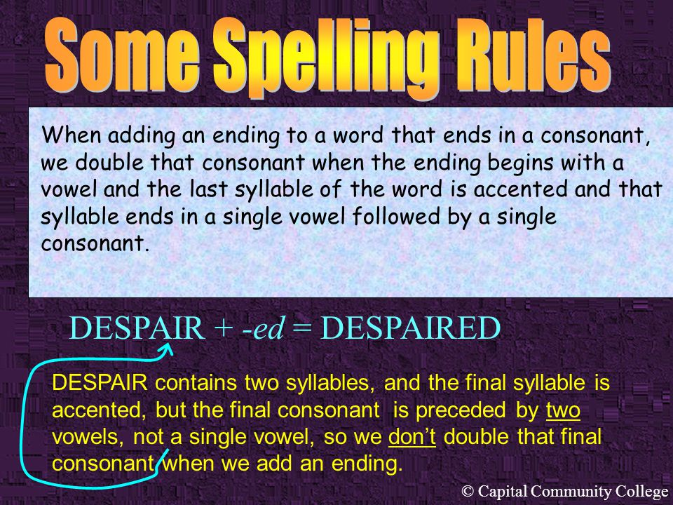 © Capital Community College BEGIN + -ing = BEGINNING When adding an ending to a word that ends in a consonant, we double that consonant when the endin
