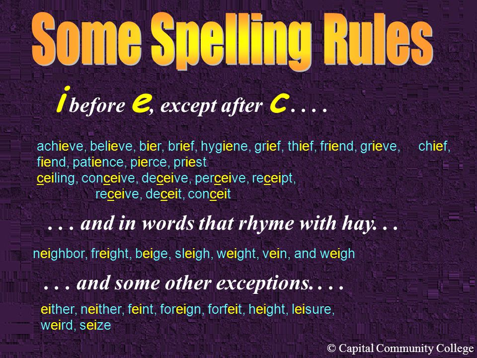 © Capital Community College At its best, English spelling can be perplexing, especially for non-native speakers and writers. The following rules and s