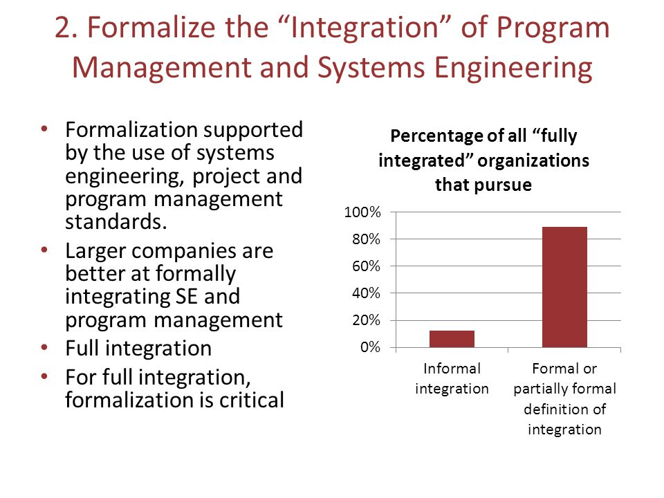 """2. Formalize the """"Integration"""" of Program Management and Systems Engineering Formalization supported by the use of systems engineering, project and pr"""