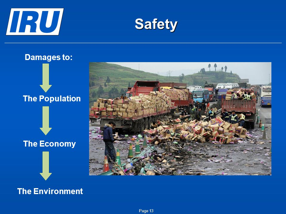 Page 14 IRU Commitment Road Safety – Highest Priority  The IRU supports all measures that improve road safety  if  they effectively target the main causes of accidents involving trucks.