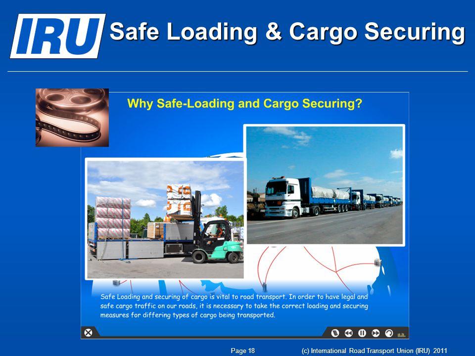 Page 19 Безопасная погрузка и крепление груза ЭКО-вождение Программы Академии IRU