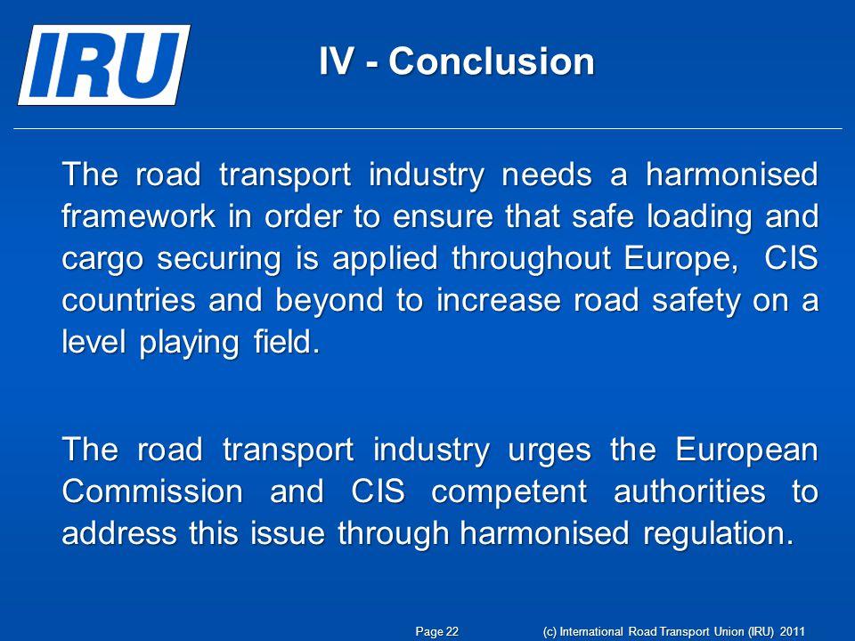 www.iru.org Page 23 (c) International Road Transport Union (IRU) 2011