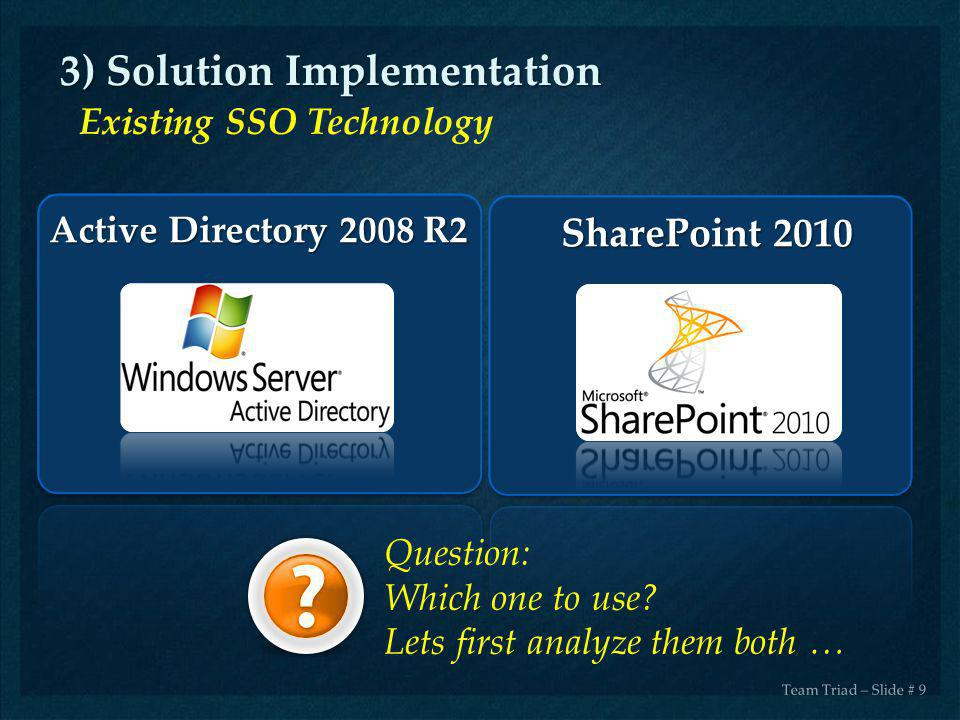 Team Triad – Slide # 9 SharePoint 2010 3) Solution Implementation Existing SSO Technology Active Directory 2008 R2 Question: Which one to use? Lets fi