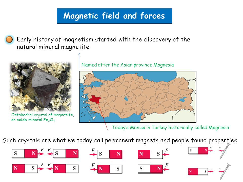 Magnetic field and forces Early history of magnetism started with the discovery of the natural mineral magnetite Named after the Asian province Magnesia Octahedral crystal of magnetite, an oxide mineral Fe 3 O 4 Today's Manisa in Turkey historically called Magnesia Such crystals are what we today call permanent magnets and people found properties