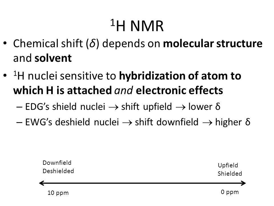 1 H NMR Spin-spin coupling effects: interaction between nuclei through bonds – Causes splitting in observed peak (s, d, dd, t, m…) – Coupling constants: magnitude of splitting (Hz) Hz (not ppm) since effect is independent of applied mag.