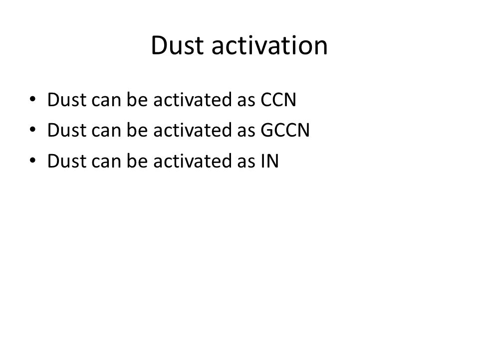 Dust activation Dust can be activated as CCN Dust can be activated as GCCN Dust can be activated as IN