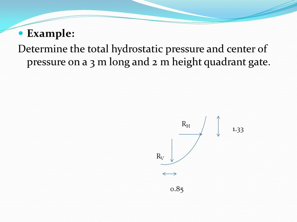Example: Determine the total hydrostatic pressure and center of pressure on a 3 m long and 2 m height quadrant gate. RHRH RVRV 1.33 0.85