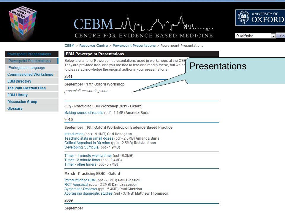 www.cebm.net Masters Programme Presentations