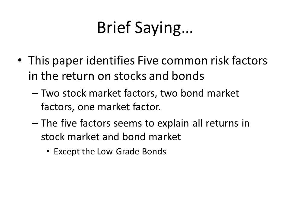 Main Result – Bond Market Test