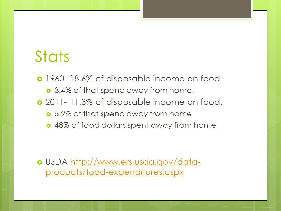 Stats  1960- 18.6% of disposable income on food  3.4% of that spend away from home.