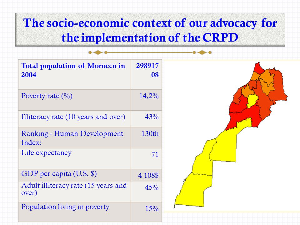 Data on disability in Morocco Source: National Survey on Disability in 2004:  1.530 000 people live with a disability.