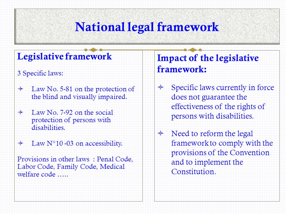 National legal framework Legislative framework 3 Specific laws:  Law No.
